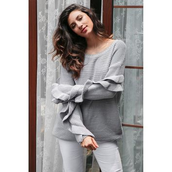 Round Neck Ruffle Loose Pull Sweater