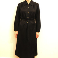 70s Black Shirt Dress, Vintage Medium Length Stretch Shirtdress W/ Golden Buttons, Long Sleeves, Size S