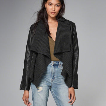 DRAPE FAUX LEATHER JACKET