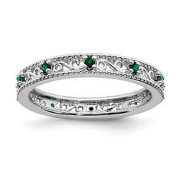 Sterling Silver Stackable Expressions Created Emerald Filigree Ring