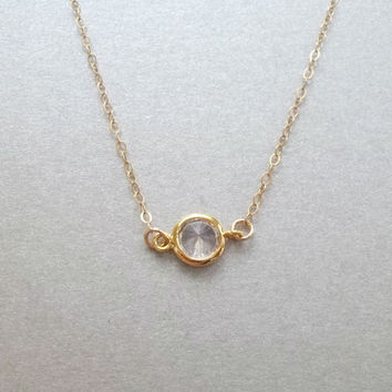 Sideways diamond CZ necklace, bezel crystal necklace, solitaire necklace, dainty gold necklace