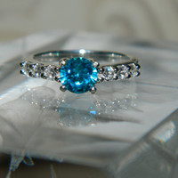 Blue Stone Engagement Ring