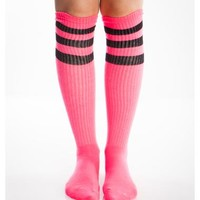 Hot Pink And Black Athletic Stripe Knee High Socks