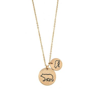DOUBLE DISK MAMA BEAR PENDANT NECKLACES