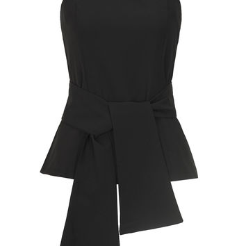 Black Tie Front Zip Back Bandeau Top
