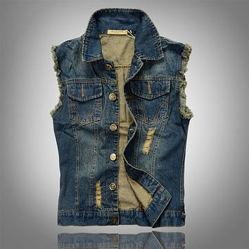 Spring Summer Casual Slim Men Denim Vest Sleeveless Jacket