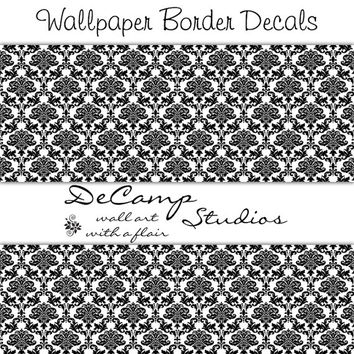 BLACK WHITE DAMASK Wallpaper Border Wall Decals Home Decor Baby Girl Nursery Chidlrens Room Kids Bedroom Abstract Art Pattern Stickers Decor