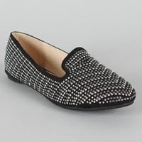 Wild Diva Starla-33G Jeweled Round Toe Loafer Flat