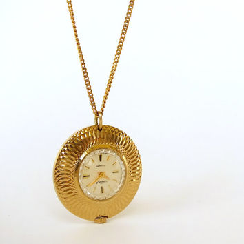 Necklace Watch Chaika. Pendant Watch for women. Vintage Gold Plated Ladies Watch With Chain Small Womens Watch Mothers Day Gift Gift For Mom