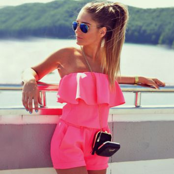 FASHION STRAPLESS ROSES ROMPER