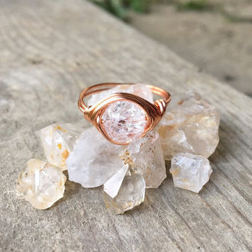 ring, gemstone ring, wire ring,wire wrapped ring, Quartz ring, stone ring, clear stone ring, copper wire ring, chakra ring, healing crystals