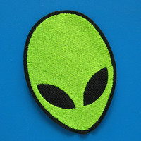 Iron-on Embroidered Patch Alien face 2.9 inch
