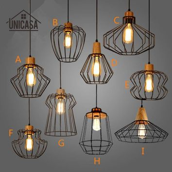 Industrial Wrought Iron Lighting Fixtures Vintage Wooden Kitchen Island Modern Pendant Lights Antique Iron Mini Ceiling Lamp
