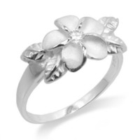 925 Sterling Silver Plumeria Maile Leaf Ring Hawaiian Jewelry
