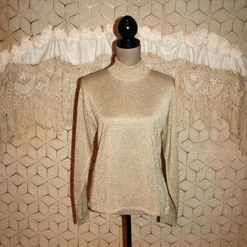 Vintage Sparkly Metallic Gold Sweater Top Gold Turtleneck Holiday Clothing Long Sleeve High Neck Top Talbots Medium Large Womens Clothing