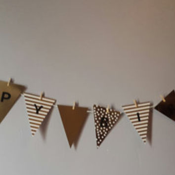 Happy Birthday Banner Bunting white and gold stripes dots