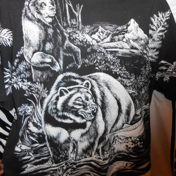 Vintage 90s All Over 2 Sided Black Bear Fish Outdoor Wilderness T-Shirt XL