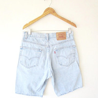 Mens 90's LEVI STRAUSS 505 Red Tab 5 Pocket Denim Jean Shorts Jorts Sz 33