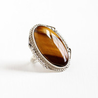 Vintage Sterling Silver Huge Tiger's Eye Ring - Retro 1970s Size 7 Large Brown Oval Gem Statement Southwestern Tribal Boho Jewelry