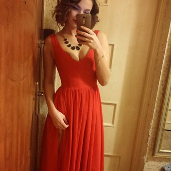 V-Neck Straps Red Chiffon Prom Dresses