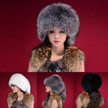 Fashion Warm Winter Tail Beanie Beret Cap Womens Faux Fur Ear Earflap Hat