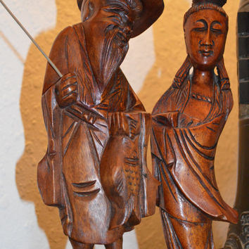 Vintage Hand Carved Wood Asian Fisherman and Wife, Rare Couple, Unique and Truly Beautiful, Perfect Special Gift!