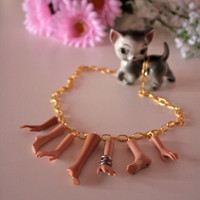 Gold Barbie hands and feet necklace - Dismembered Doll
