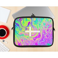 The Vector White Cross v2 over Neon Color Fushion Ink-Fuzed NeoPrene MacBook Laptop Sleeve