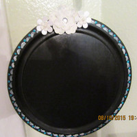 Up-Cycled Cottage Chic Hand Painted Mini Round Wooden Chalkboard With White Flower Accents