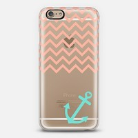 Peach and Turquoise Chevron Nautical Transparent iPhone 6 case by Organic Saturation | Casetify