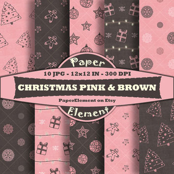 Christmas Digital Paper Pack in Pink and Brown - Holiday Scrapbook Paper - Instant Download