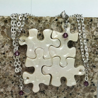Bridesmaids Puzzle Necklaces Set of 4 Polymer Clay Necklaces with Swarovski Crystals Made To Order