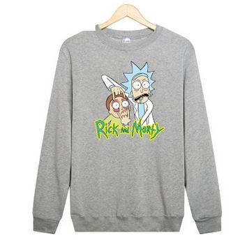 Rick and Morty Rick and Moti cartoon T-shirt sleeve head plus cashmere sweater sweater Gray