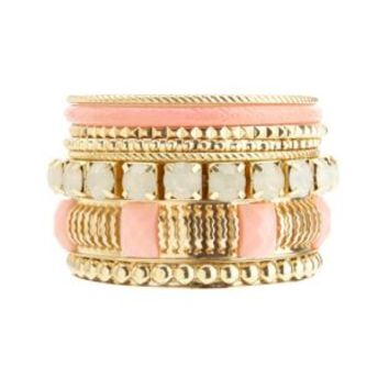 Textured, Coated & Faceted Stone Bangles - 8 Pack - Gold