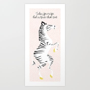 Pink Zebra (Dr. Seuss quote) Left Art Print by Lay Baby Lay