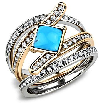 A 14K Rose Gold Platinum 1.4CT Princess Cut Turquoise Stackable Ring Set