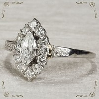 Ravishing Marquise Diamond Navette Platinum Engagement Ring