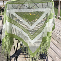 Vintage 1960's Green and White Shawl Wrap Made in Japan