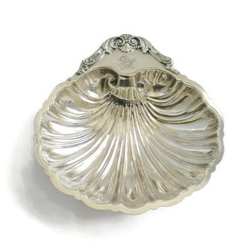 Silver Plate Clam Shell Dish With Conch Shell Feet, Friedman Silver Company, Trinket Bowl