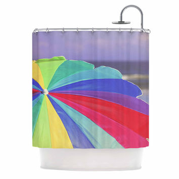 "Angie Turner ""Beach Umbrella"" - Coastal Photography Shower Curtain"