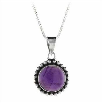 925 Silver Cabochon Amethyst Stone Bali Bead Round Pendant, 18""