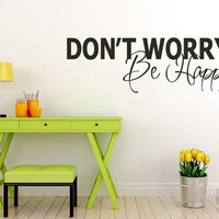 Don't Worry Be Happy Vinyl Wall Sticker, Modern Room Mural Art Interior Decoration Decal Q113