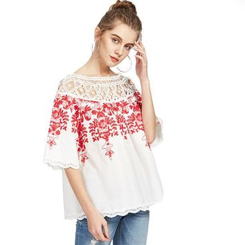 Cute Crochet Blouse Women White Boho Embroidery Red Vine Vintage Summer Tops New Sexy Off Shoulder Cut Out Blouse