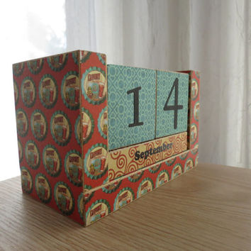 Handmade Perpetual Wooden Block Calendar - Fun and Colorful Soda Pop Tops