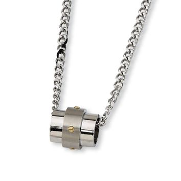 Stainless Steel and Gold Tone Accent Barrel Necklace