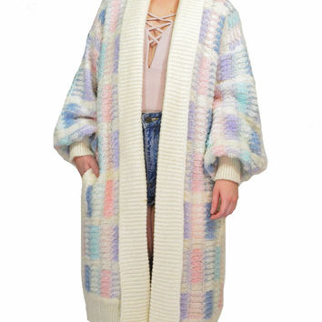 vintage 80s pastel grunge jacket ULTRA draped chunky knit oversized sweater jacket coat pastel plaid poet slv kawaii slouchy sweater duster