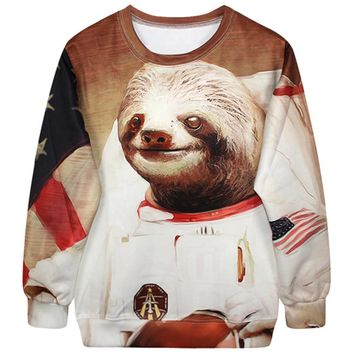 Astronaut Space Sloth Animal Meme Graphic Print Unisex Pullover Sweater