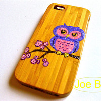 bamboo iphone 5 case, wood iphone 5/5s case, wood iphone case, bling iphone case, owl iphone case