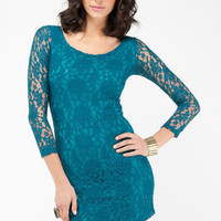 Tricia Lace Dress in Teal :: tobi