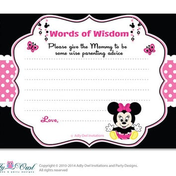 Black Pink  Girl Minnie Mouse Words of Wisdom, Advice Card for Baby Shower Printable DIY for Girl, Polka - oz9bs2